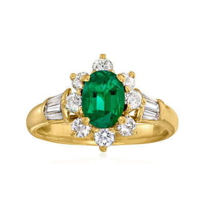 C. 1980 Vintage .95 Carat Emerald and 1.05 ct. t.w. Diamond Ring in 18kt Yellow Gold