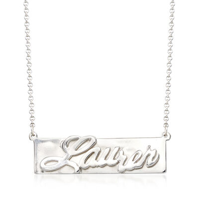 Sterling Silver 3d Nameplate Necklace, , default