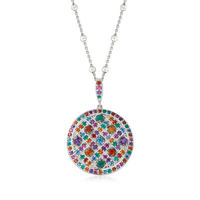 Multi-Gem Disc Pendant Necklace in Sterling Silver, , default