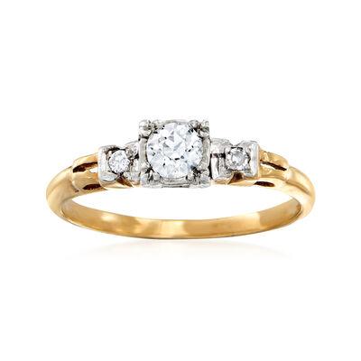 C. 1980 Vintage .25 Carat Diamond Ring in 14kt Yellow Gold, , default