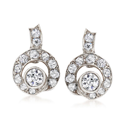 C. 1880 Vintage 3.10 ct. t.w. Diamond Clip-On Earrings in 14kt White Gold and Sterling Silver