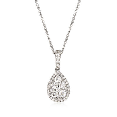 C. 2000 Vintage 1.10 ct. t.w. Diamond Cluster Pendant Necklace in 18kt White Gold, , default