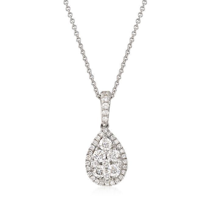 "C. 2000 Vintage 1.10 ct. t.w. Diamond Cluster Pendant Necklace in 18kt White Gold. 16"", , default"