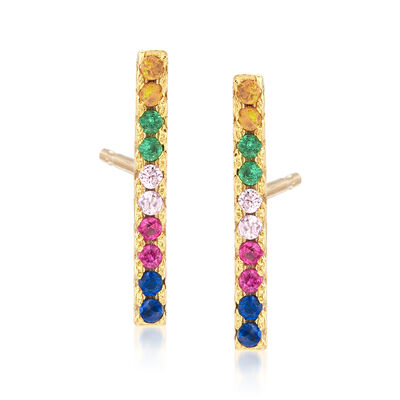 .10 ct. t.w. Multicolored CZ Bar Stud Earrings in 18kt Gold Over Sterling