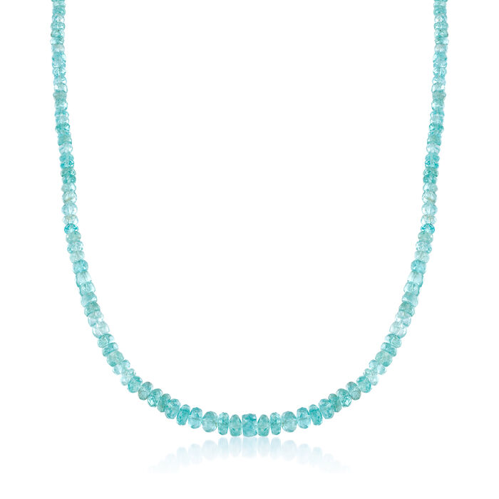 95.00 ct. t.w. Teal Apatite Bead Necklace with Sterling Silver, , default