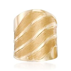 Italian 18kt Yellow Gold Satin-Finished and Polished Wave Ring, , default