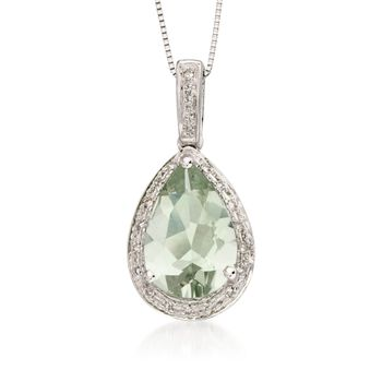 2.65 Carat Green Amethyst and .10 ct. t.w. Diamond Pendant Necklace in 14kt White Gold, , default
