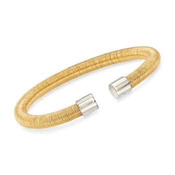 """Italian Two-Tone Sterling Silver Cuff Bracelet. 7.5"""", , default"""