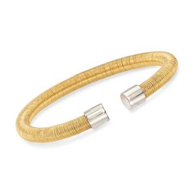 Italian Two-Tone Sterling Silver Cuff Bracelet, , default