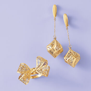 Italian 14kt Yellow Gold Geometric Filigree Drop Earrings, , default