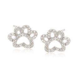 .15 ct. t.w. Diamond Open Paw Print Stud Earrings in Sterling Silver, , default