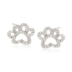 .15 ct. t.w. Diamond Open Paw Print Stud Earrings in Sterling Silver, , default