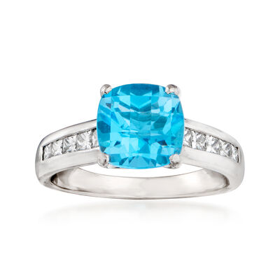 C. 2000 Vintage 2.25 Carat Swiss Blue Topaz and .50 ct. t.w. Diamond Ring in Platinum