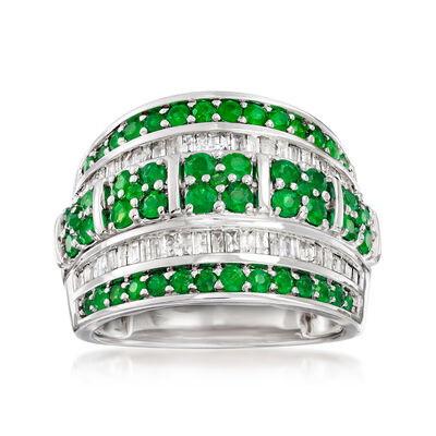 1.40 ct. t.w. Emerald and .60 ct. t.w. Diamond Multi-Row Ring in Sterling Silver