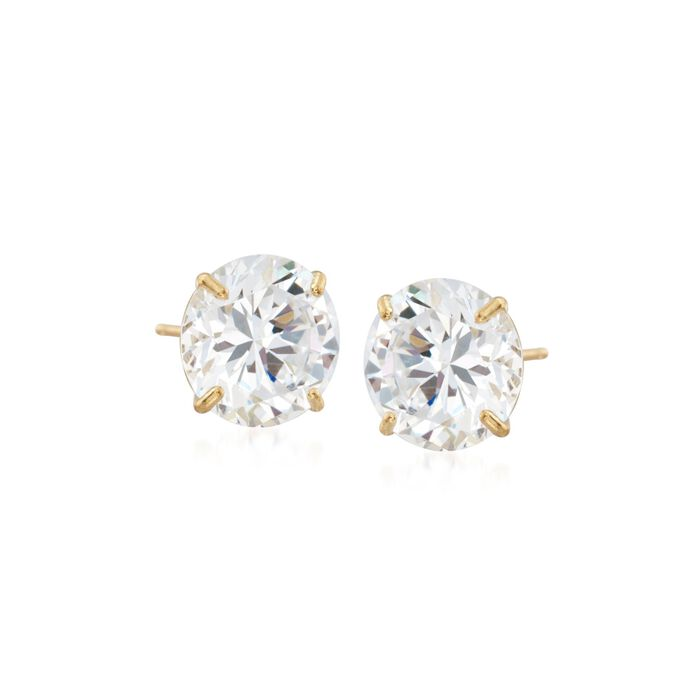 8.00 ct. t.w. CZ Stud Earrings in 14kt Yellow Gold, , default