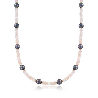 95.00 ct. t.w. Morganite Bead and 9.5-10.5mm Black Cultured Pearl Station Necklace with 14kt Gold