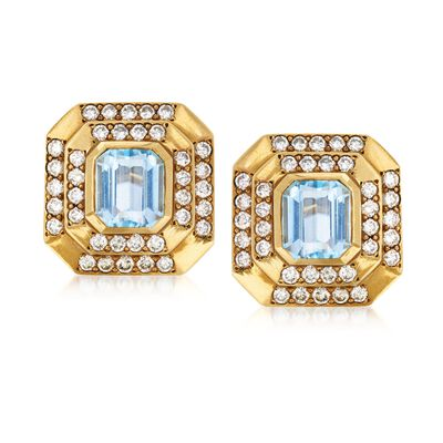 C. 1980 Vintage 7.50 ct. t.w. Blue Topaz and 4.00 ct. t.w. Diamond Earrings in 18kt Yellow Gold