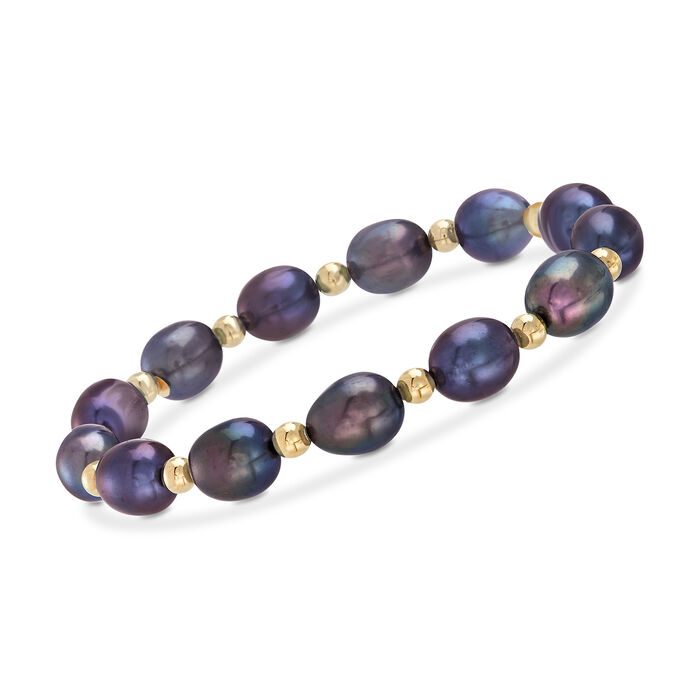 8-9mm Black Cultured Pearl and 14kt Yellow Gold Bead Stretch Bracelet, , default