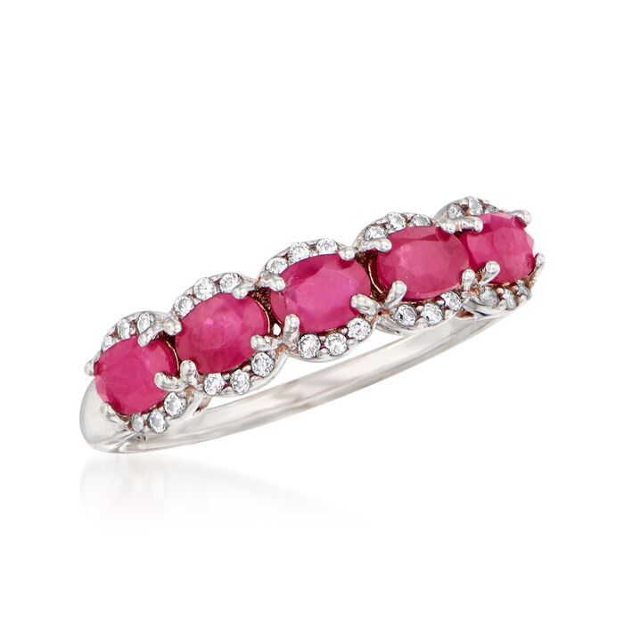 1.20 ct. t.w. Ruby and .10 ct. t.w. White Zircon Ring in Sterling Silver