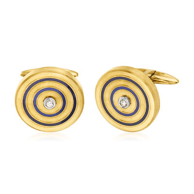 C. 1970 Vintage Men's Blue Enamel and .10 ct. t.w. Diamond Circle Cuff Links in 18kt Yellow Gold
