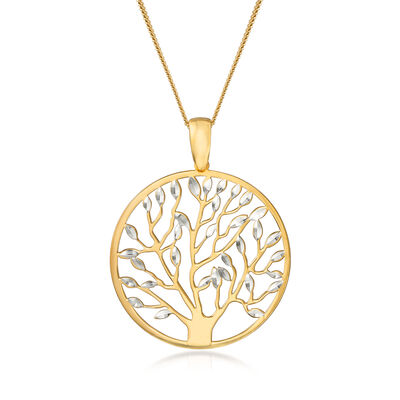 Italian 18kt Yellow Gold Over Sterling Silver Tree of Life Pendant Necklace, , default