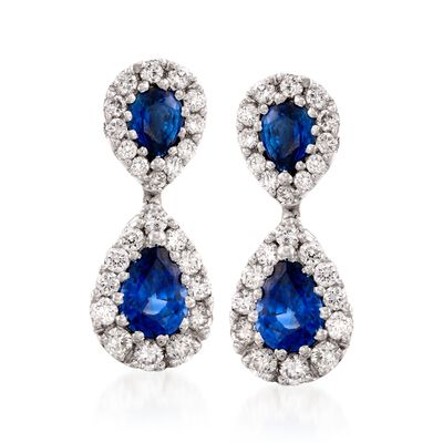 Gregg Ruth 1.76 ct. t.w. Sapphire and .80 ct. t.w. Diamond Earrings in 18kt White Gold