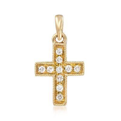 18kt Yellow Gold Cross Pendant with Diamond Accents, , default