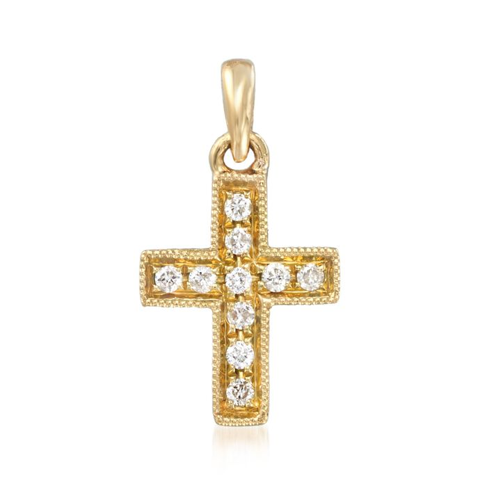 18kt Yellow Gold Cross Pendant with Diamond Accents , , default