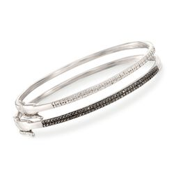 ".33 ct. t.w. Black and White Diamond Jewelry Set: Two Bangle Bracelets in Sterling Silver. 7.5"", , default"
