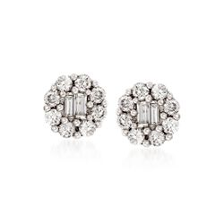 Gregg Ruth .75 ct. t.w. Diamond Earrings in 18kt White Gold, , default