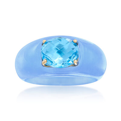 3.20 Carat Blue Topaz and Blue Jade Ring with 14kt Yellow Gold, , default