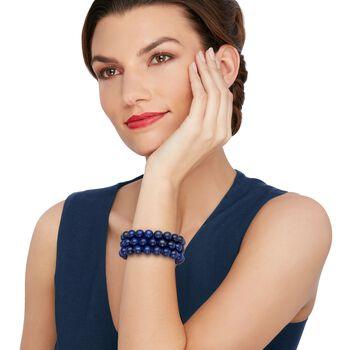"Blue Lapis Bead Set: Three Stretch Bracelets. 7.25"""