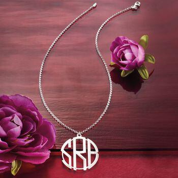 Sterling Silver Open Block Monogram Pendant Necklace, , default
