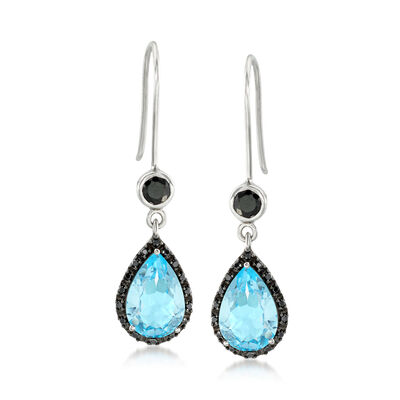 5.75 ct. t.w. Sky Blue Topaz and .90 ct. t.w. Black Spinel Drop Earrings in Sterling Silver