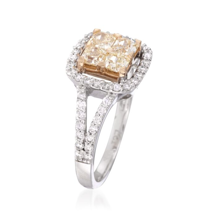 1.00 ct. t.w. Fancy Yellow and White Diamond Engagement Ring in 18kt Two-Tone Gold