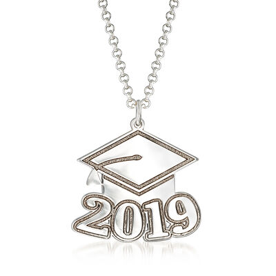Sterling Silver 2019 Graduation Cap Personalized Pendant Necklace, , default