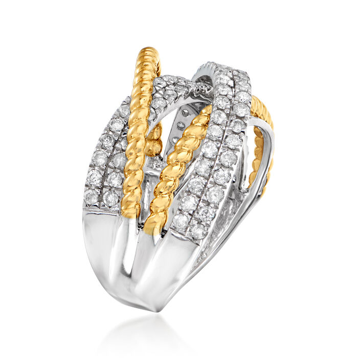 1.00 ct. t.w. Diamond Highway Ring in Sterling Silver with 14kt Yellow Gold