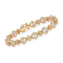 "C. 1990 Vintage 1.75 ct. t.w. Diamond Circle-Link Bracelet in 18kt Two-Tone Gold. 7"", , default"