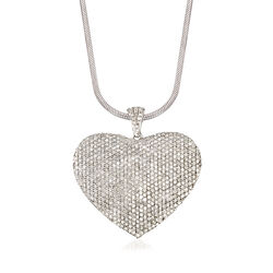 5.00 ct. t.w. Pave Diamond Heart Pendant Necklace in Sterling Silver, , default
