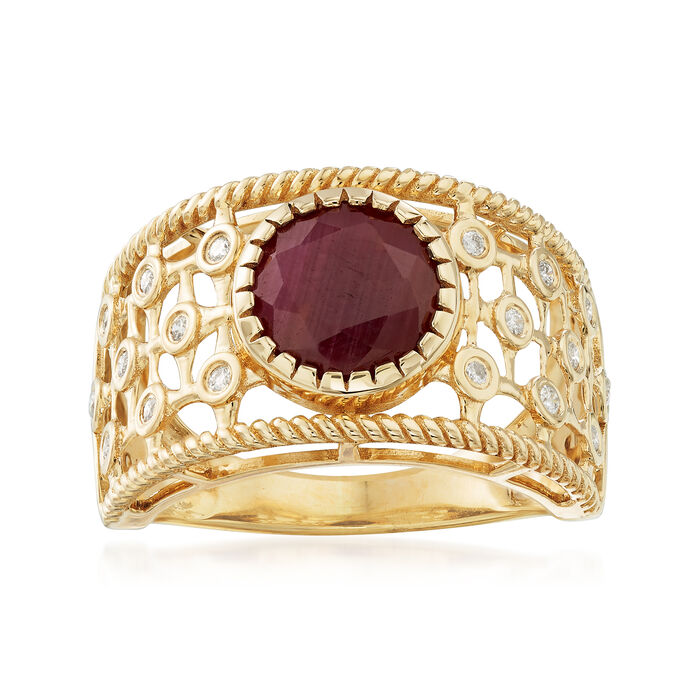 2.40 Carat Ruby and .10 ct. t.w. Diamond Scroll Ring in 14kt Yellow Gold