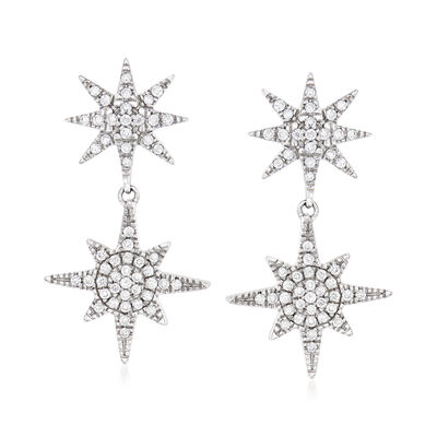 .33 ct. t.w. Diamond Double-Starburst Drop Earrings in Sterling Silver, , default