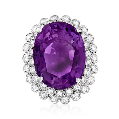 C. 1980 Vintage 25.16 Carat Amethyst and 3.00 ct. t.w. Diamond Cocktail Ring in 14kt White Gold