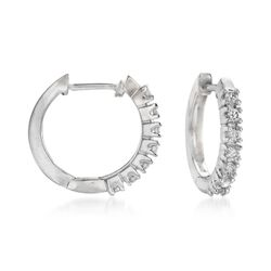 ".24 ct. t.w. Diamond Huggie Hoop Earrings in 14kt White Gold. 1/2"", , default"