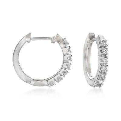 .24 ct. t.w. Diamond Huggie Hoop Earrings in 14kt White Gold, , default