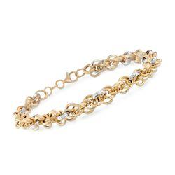 Italian 18kt Two-Tone Gold Link Bracelet, , default