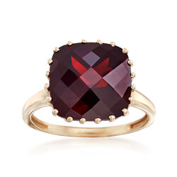 8.00 Carat Square Garnet Ring in 14kt Yellow Gold, , default