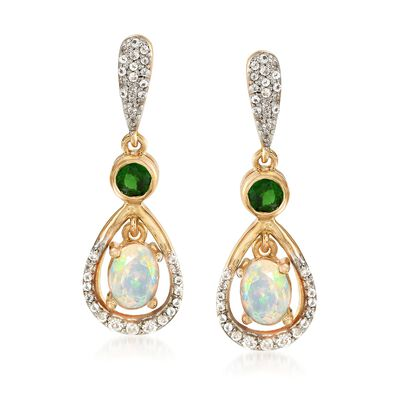 7x5mm Opal and .52 ct. t.w. Multi-Stone Earrings in 18kt Yellow Gold Over Sterling Silver, , default