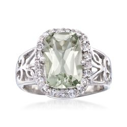 3.00 Carat Green Amethyst and .60 ct. t.w. White Topaz Floral Ring in Sterling Silver, , default