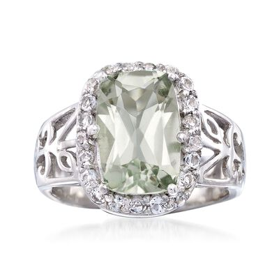 3.00 Carat Green Prasiolite and .60 ct. t.w. White Topaz Floral Ring in Sterling Silver, , default