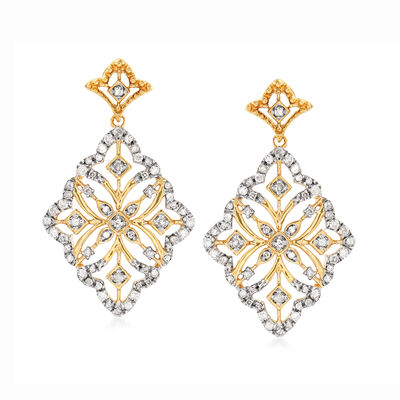 .50 ct. t.w. Diamond Floral Drop Earrings in 18kt Gold Over Sterling